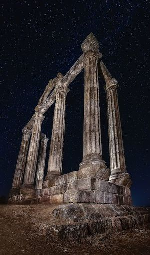 Roman ruins Night Built Structure Spirituality History Architecture No People Building Exterior Ancient Old Ruin Outdoors Star - Space Astronomy Sky Statue Old Abandoned Light Painting Light Effect Light In The Darkness Nightphotography Illuminated Architecture Stars