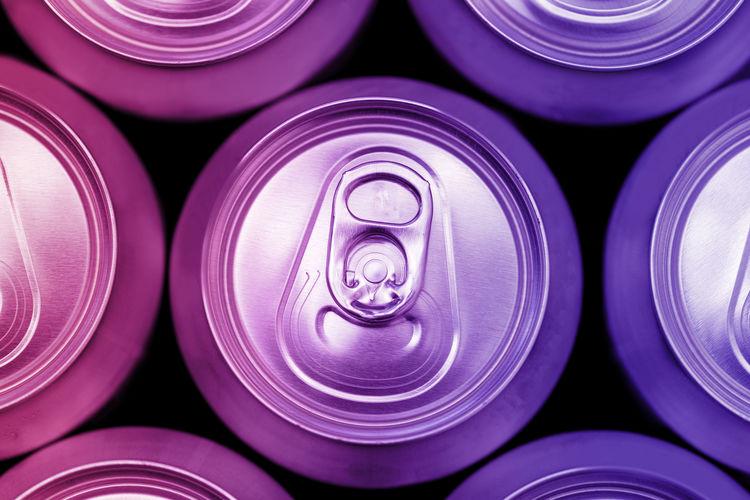 Full frame shot of cans