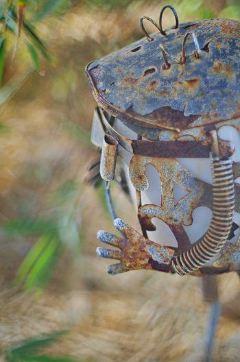 Funny little garden robot Kit Carson Park Folk Art  Bokeh Bokeh Photography Super Takumar
