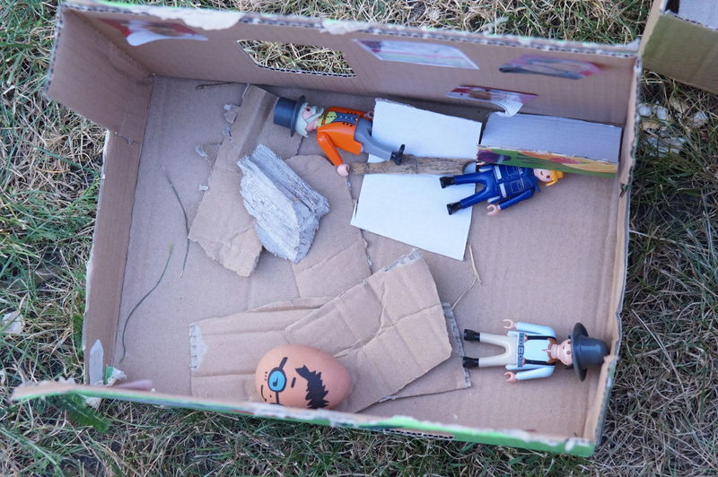 High angle view of toy in yard