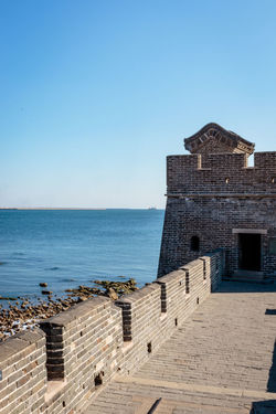 Ancient History Archaeological Site Architecture Castle Great Wall Hebei Sunlight Tourist Attraction Blue Building Exterior China Chinese Day Fortification Historic Site History Horizon Over Water Landmark Military Nature Qinhuangdao Sea Shanhaiguan Sky