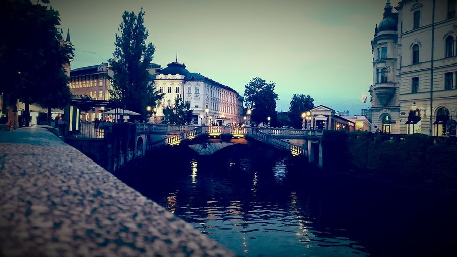 Ljubljana Evening Saturday River City Center Ligths Bridge