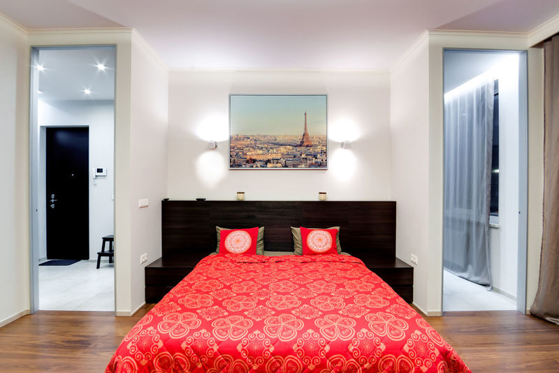 Indoors  Domestic Room Home Interior Furniture Home Home Showcase Interior Bedroom Red Luxury No People Bed Modern Wealth Absence Lighting Equipment Elégance Pillow Building Neat House Flooring Electric Lamp