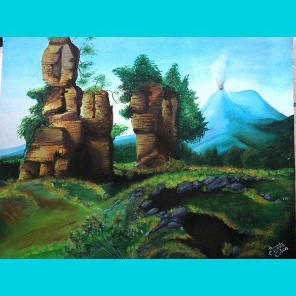 Cada día mi primo me sorprende. Las Ruinas de la Iglesia Asunción, Izalco en óleo y lienzo. óleo Lienzo Picture Art Izalco ElSalvador