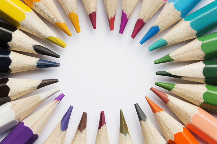 Close up colour pencils with circle copy space Colors Copy Space Horizontal Pencils Spectrum Art Choice Close-up Colored Pencil Colour Pencils Indoors  Large Group Of Objects Multi Colored No People Pencil Pencil Shavings Sharp Still Life Studio Shot Variation Variety White Background Wood - Material