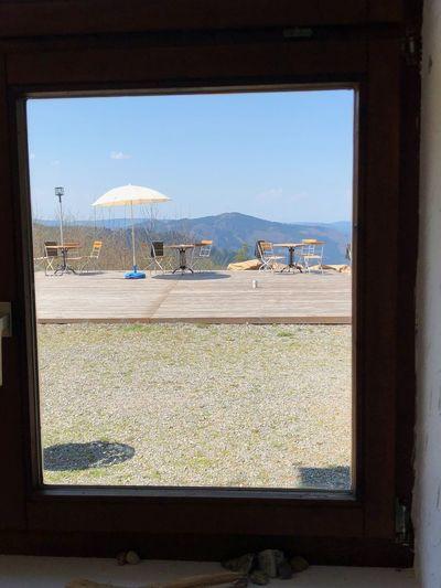 Blick durch das Fenster Sommerecke Kirnbach Sky Day Water Window Sea Transparent Nature