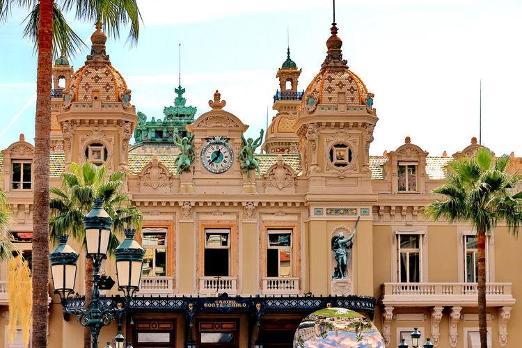 Exterior of monte carlo casino against sky
