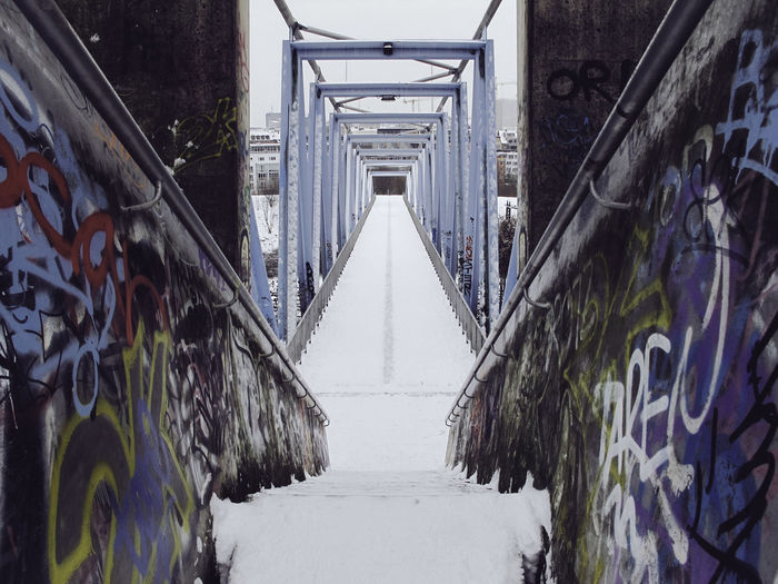 Architecture Built Structure The Way Forward Direction Metal Diminishing Perspective No People Day Transportation Outdoors Railing Graffiti Nature Plant Bridge Building Exterior Footpath Winter Staircase vanishing point Mediapark Köln