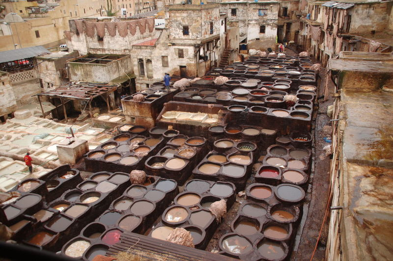 High angle view of tannery at fez