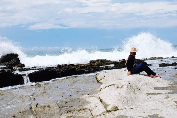 Waves, Ocean, Nature Beach Photography Nature Waves And Rocks Landscape Landscape_photography Sawarna Sawarna Beach INDONESIA EyeEm Nature Lover Fujifilm Fujifilm_xseries Woman Model Pose EyeEm Indonesia Nature Photography