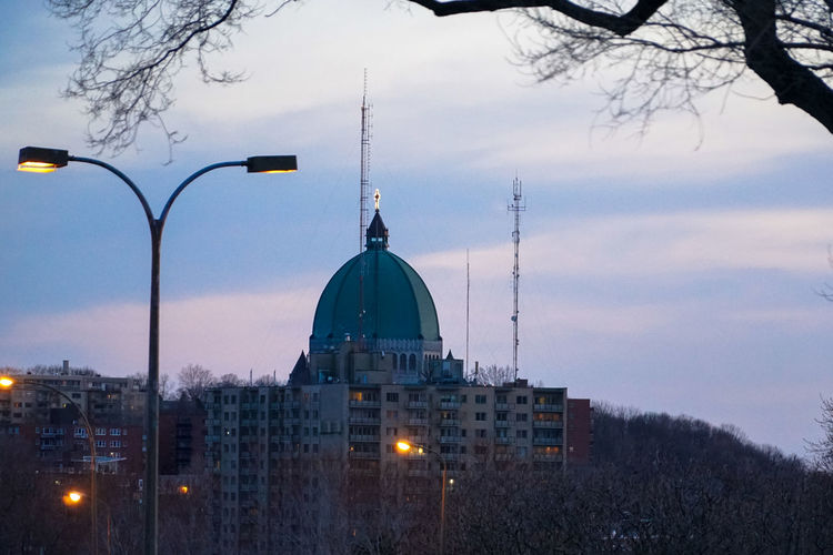Architecture Bare Tree Building Exterior Built Structure City Cloud - Sky Day Dome Dusk Mont Royal Nature No People Outdoors Place Of Worship Religion Sky Spirituality St Joseph Tree