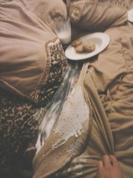 What happens when you try to take a picture of milk and cookies on your bed. :/ Fail ✌ milkandcookies