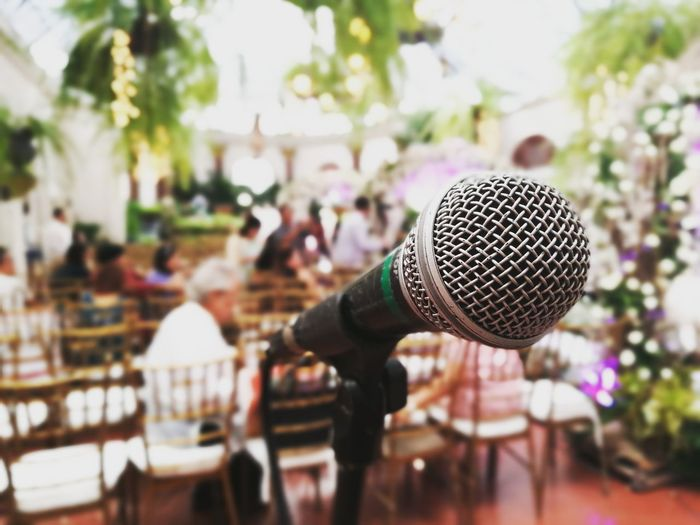 Close-up of microphone in wedding ceremony