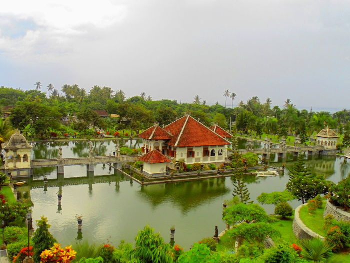 Architecture House Reflection Taman Ujung Tropical Climate Water Waterfront