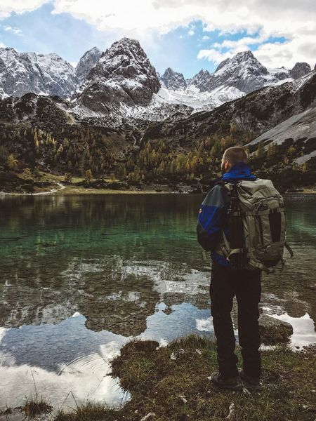 Seebensee Vibes Ehrwald Zugspitze Travel Seebensee Mountain Mountain Range Backpack Hiking Beauty In Nature Nature One Person Rear View Snow Landscape Tranquil Scene Adventure