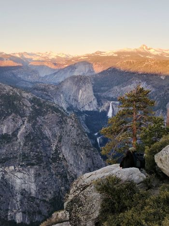 Landscape Mountain Sunset Outdoors Nature Beauty In Nature Scenics Mountain Range Iconic Landscape Yosemite Valley Cliff Viewpoint Granite Vista Waterfall Couple Romance Non Recognizable People Hiking Active Lifestyles Half Dome Tranquility Travel Destinations