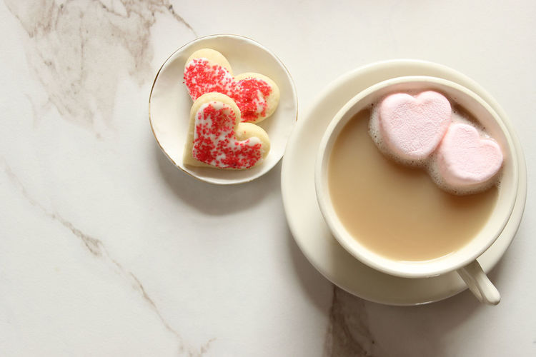 Love snacks Coffee Cup Concept Cookies Dessert Drink Food Food And Drink Holiday Indulgence Marble Marblerock Marsh Overhead Overlays Pink Hearts Refreshment Roman Romance Sweet Sweet Food Valentine's Day