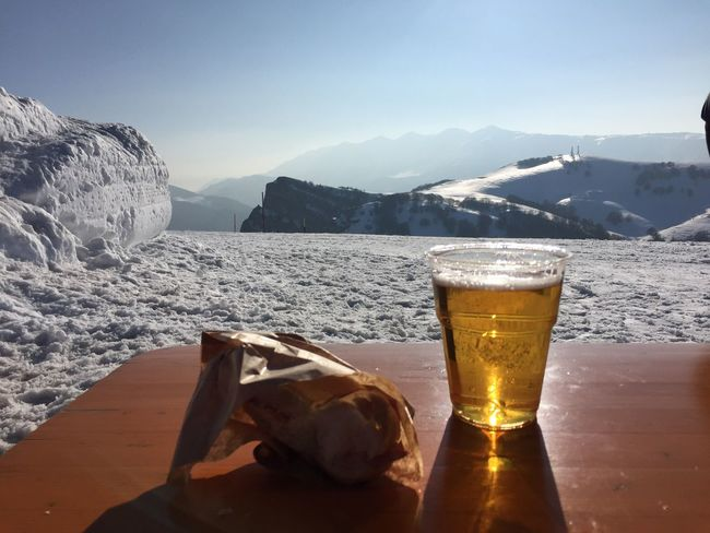 Endoftheday Beer Panino Salame Myterrace View Snow Peace and Fun LovingLife Nofilter IPhoneography Iphone6plus Hello World