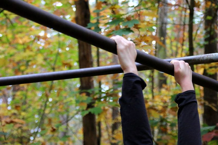 Womans Hands Exercises  Pull Ups Trim Path Climbing Leisure Activity Lifestyles Tree Forest Nature Autumn Outdoors Day Be. Ready. One Step Forward Inner Power Be Brave