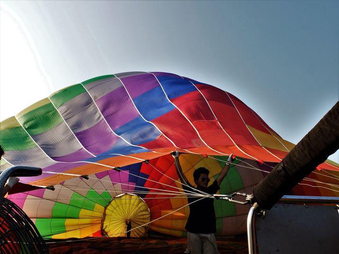 Hot air balloon against clear sky