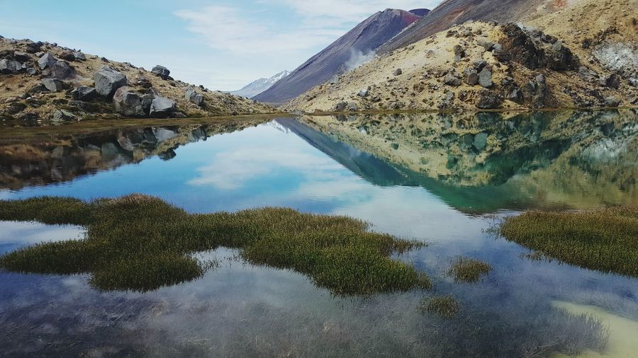 Emerald Lake near Mt Ngauruhoe Reflection Water Lake Sky Standing Water Nature Outdoors Tranquility No People Mountain