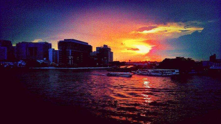 walk across Sunset Sky River Architecture