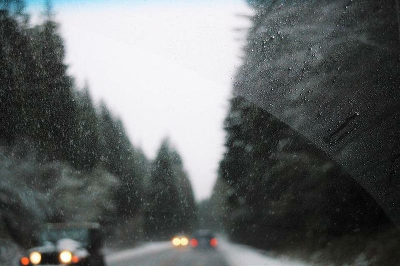 Jeep Vehicle Interior Car Transportation Windshield Snow Winter Car Point Of View Road Illuminated Oregon For Sale PNW