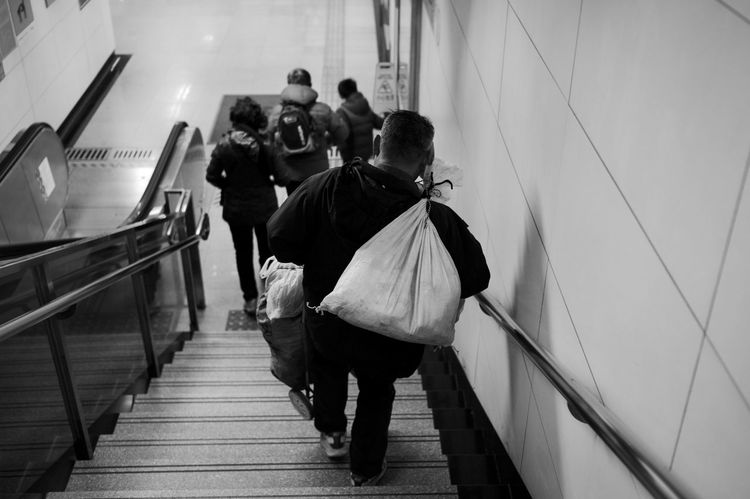 Architecture Real People Walking Staircase Rear View Group Of People Women Steps And Staircases Men Adult Lifestyles Railing Subway People Full Length Built Structure Transportation Indoors  Moving Down Leisure Activity Blackandwhite LEICA M