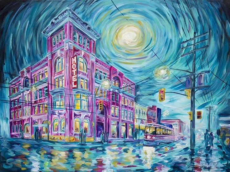 The Gladstone - 30x40 Acrylic on stretched canvas. CaseyONeill Impressionism Torontoartist Artistlife Caseyoneillart Impressionist Impressionistic ArtWork Toronto Citylights Nightlights Streetlights