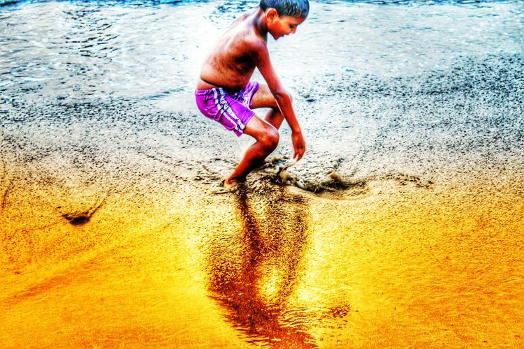 Water Beach Sand Real People Shore Wet One Person Leisure Activity Outdoors Shirtless Nature Sea Sunset Day Kid Playing Innocent Be. Ready. Awaken the child within myself. Live, Laugh, Love and Enjoy!!