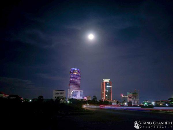 Skyscraper under moon light