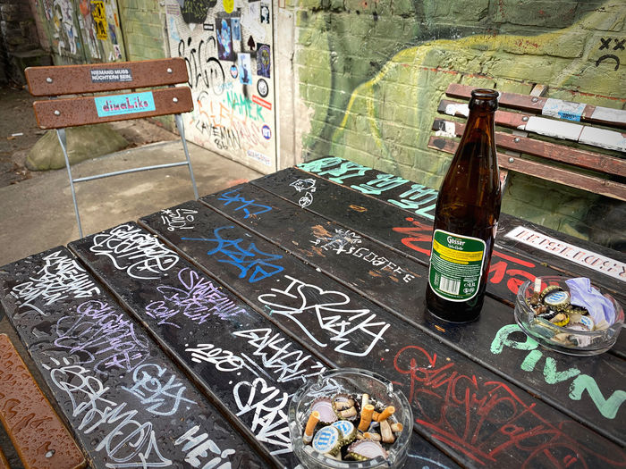 High angle view of bottles on table