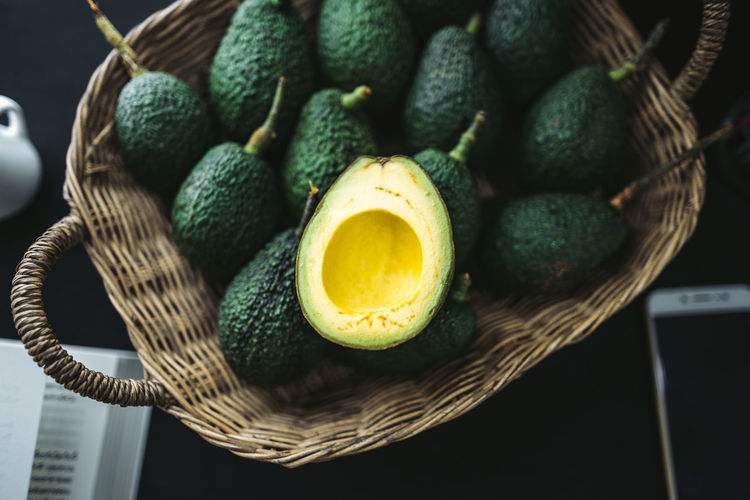 High angle view of avocados in basket on table