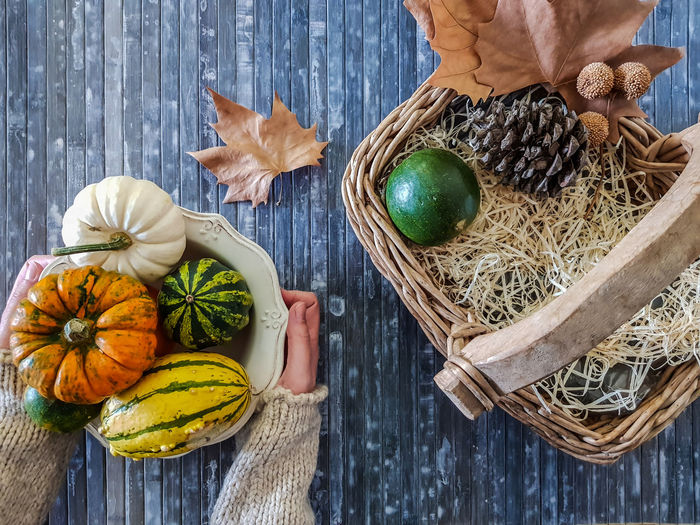 Woman holding a vintage bowl with assorted pumpkins, dry leaves, pine cones and wicker basket