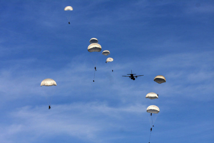 Adventure Alighting Army Blue Flying Landing Troops Low Angle View Military Exercise NATO Parachute Parachutes Parachutes In Formation Paratroopers Sky Soldiers