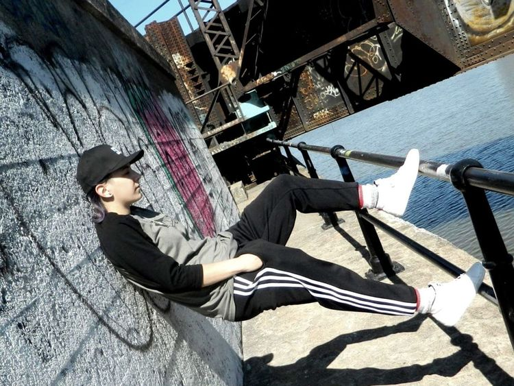 Armelyn Adidas Pants White Shoes Vans Element DCShoes Dcshoecousa Lesbian Gay Girl Girl With Hat Train Water Dilapidated Graffiti Forsaken Montréal Montreal, Canada Woman Woman Portrait Tomboy Girl
