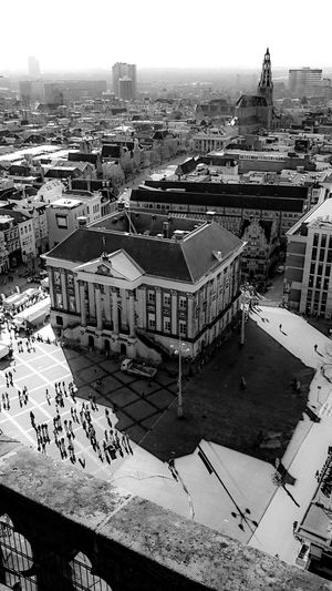 Black And White Photography, Discover Your City Groningen in Monochrome. From The Rooftop, View From Above the Martinitower with City Hall, Aa-kerk and all those People walking in Sunshine. Light And Shadow