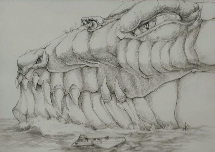Sketch Dragon The Great Ocean Dragon! Art Drawing Fantasy Beasts Ocean Strange Creatures