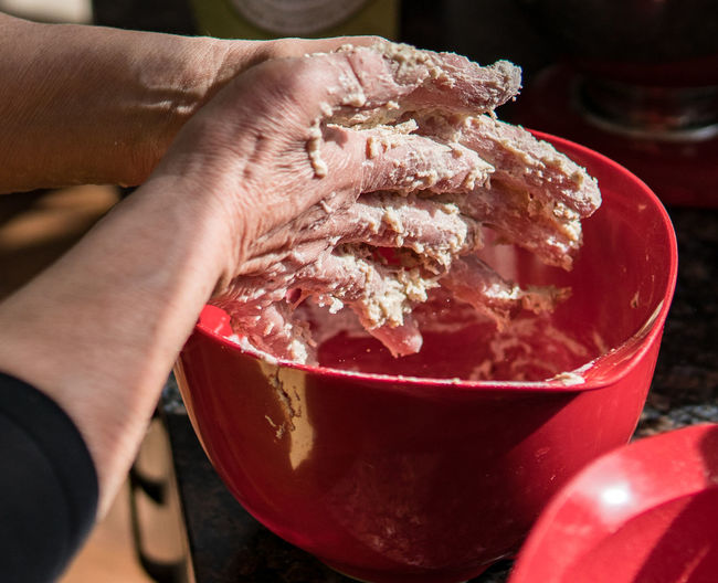 Home baking Arms Cooking Hands Red Baking Dough Messy Hands Mixture  Sourdough Bread