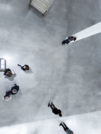 From Above  Going Out Waiting Floor Galery Grey Indoors  Looking Looking Down From Above Museum People Space Tiny People