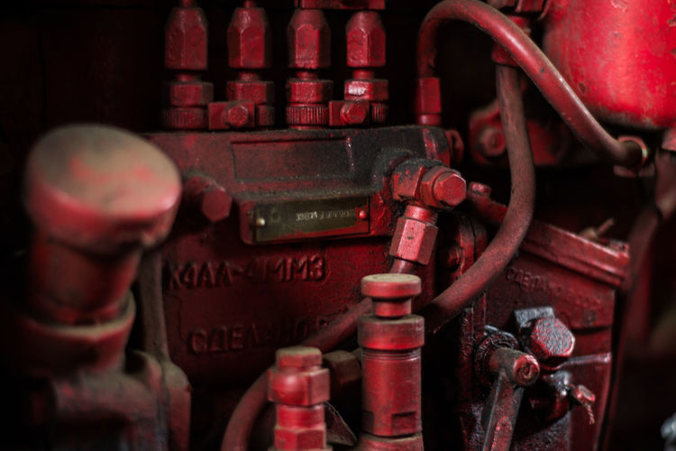 Close up of red rusty equipment