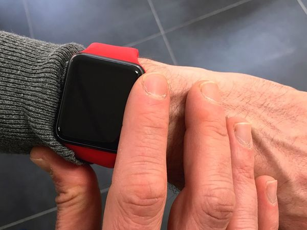 Smartwatch time Smartwatch Smart Watch Apple Watch Apple Watch Technology Technology I Can't Live Without Hand Wristwatch Wrist Watch Wrist Touch Touching Touch Screen Item Red Close-up Close Up