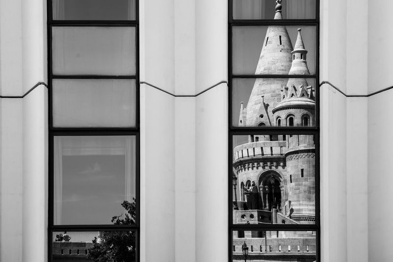 Black And White Budapest Hungary Old Meets New Reflection Reflections Travel Window
