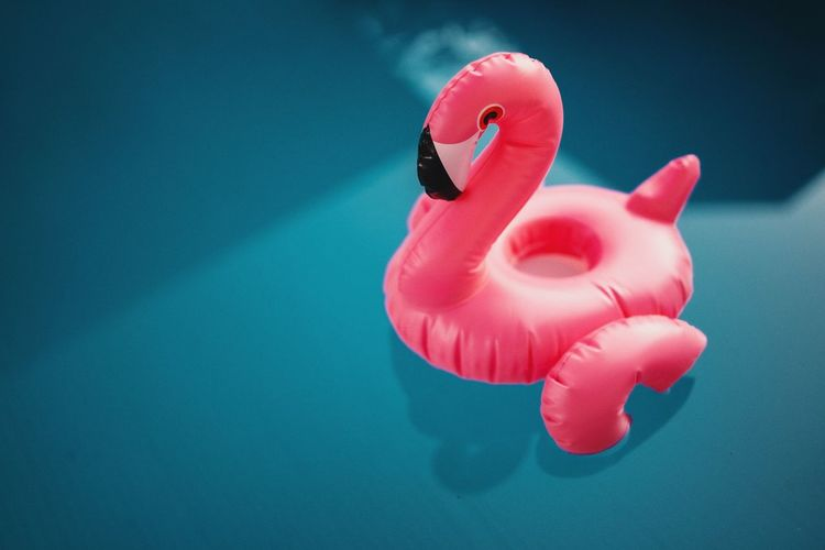 Pool Water Blue Summertime Flamingo Water Red Pink Color Representing Bird Floating On Water Close-up Inflatable  Toy Animal Float Pool Party Toy