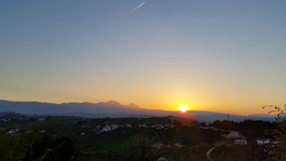 Abruzzo Beauty In Nature Clear Sky Copy Space Gran Sasso La Bella Addormentata Landscape Mountain Mountain Range Nature Orange Color Scenics Sun Sunset Tranquility