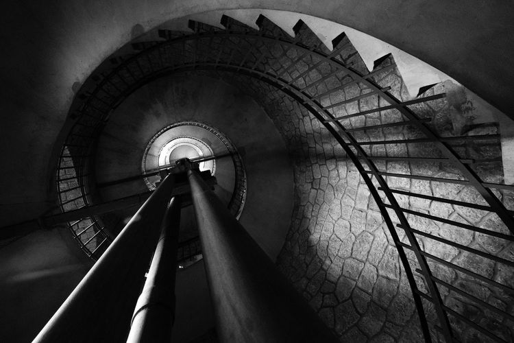 Details of the big inner staircase of the Tower at Anchorena Natural Park, Colonia, Uruguay Aanchorena Abstract Photography Travel Abstract Architecture Black And White Blackandwhite Built Structure Colonial Indoors  No People Railing Spiral Spiral Staircase Spiral Stairs Staircase Stairs Steps Steps And Staircases Travel Destinations Uruguay