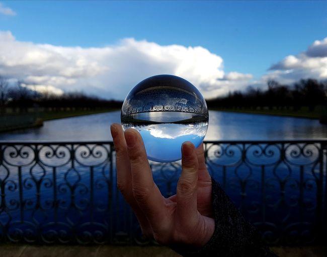 Hampton Court Palace Bluesky Lensball View Water Sky Human Body Part Cloud - Sky Day Lake Outdoors Close-up