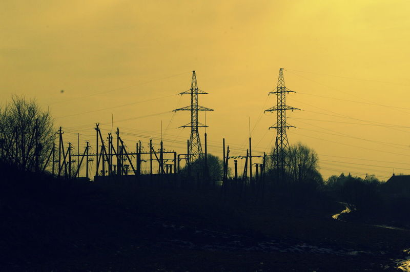 Connection Day Electricity Pylon Landscape Nature No People Outdoors Sky Sunset Technology Tree
