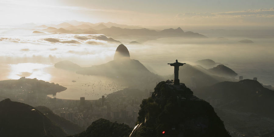 Brasil Riodejaneiro Cristo Cristo Redentor Architecture Beauty In Nature Building Exterior Built Structure City Cityscape Cross Day Fog Mountain Nature No People Outdoors Place Of Worship Religion Scenics Sculpture Silhouette Sky Spirituality Statue Sunset Travel Destinations