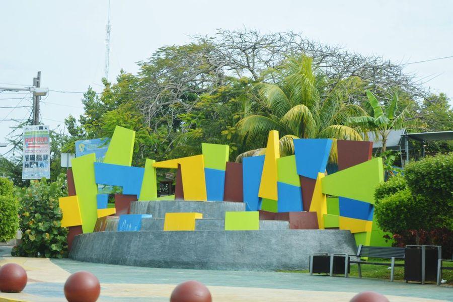 PUERTO RICO 🇵🇷 Hatillo Outdoors Modern Art Fountain Palm Tree